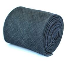 Frederick Thomas Designer Linen Mens Tie - Dark Navy Blue Plain Skinny T... - $17.52