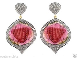 Gemstone Carved Tourmaline Sterling Silver Pave Diamond Dangle Earrings ... - $2,870.01