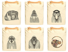 Hand Draw Monkeys Print 100% Cotton Canvas Leather Straps Laptop Backpac... - $26.38