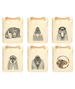 Hand Draw Monkeys Print 100% Cotton Canvas Leat... - $26.38