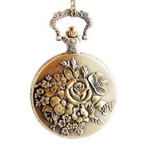 Steam Flower Quartz Pocket Watch Padent for Women - BoShiYa Locket Watch... - $41.61