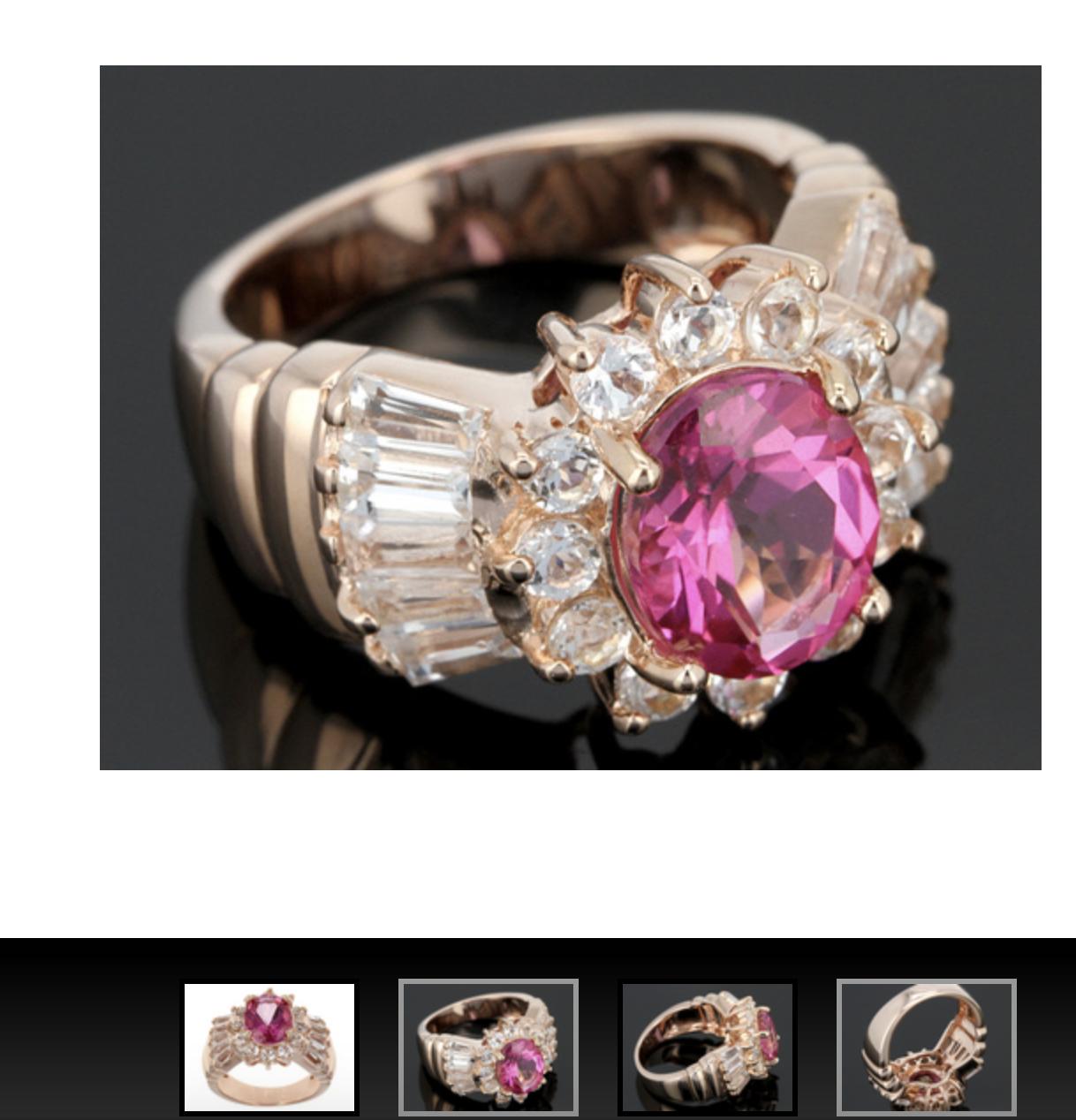 5.10ct Lab Pink Sapphire,.27ctw Rhodolite,.15ctw Topaz 18k  Gold  Silver Ring 7