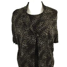 KSL Karin Stevens Sleeveless Maxi Dress and Jacket Size 14W Brown Animal Print image 3