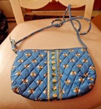 Vera Bradley small handbag with long handle in retired blue Bees pattern - $16.50