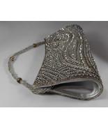 Vintage Gold Silver Rhinestone Beaded Clutch Purse Handbag w Beaded Rope... - $36.90