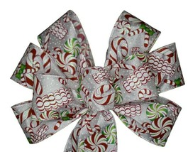 """10"""" Hand Made Christmas Candy Satin Wired Wreath Bow Cane Peppermint Red... - $8.90"""