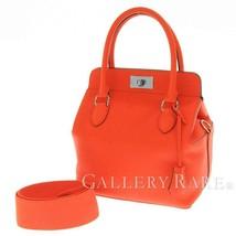 HERMES Toolbox 20 Evercolor Orange Poppy Bordeaux 2Way Handbag #A Authentic - $5,926.13