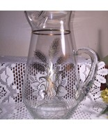 Vintage Gold Wheat Pattern Large hand Blown Pitcher - $23.76