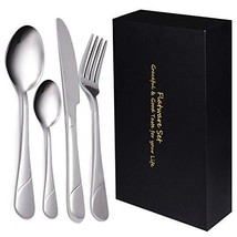 Yazer 24-Piece Silverware Flatware Cutlery Set, Stainless Steel Utensils - $34.45