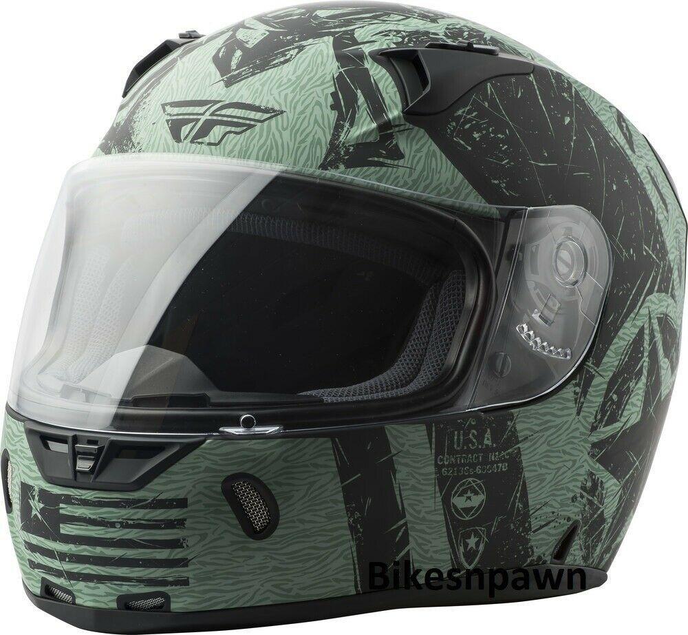 L Fly Racing Revolt Liberator Motorcycle Helmet Matte Black/Green DOT & Snell