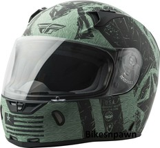 L Fly Racing Revolt Liberator Motorcycle Helmet Matte Black/Green DOT & Snell image 1