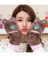 Womens Bear Mittens Winter Plush Ladies Warm Fashion Gloves Wool Warm Ca... - $9.49