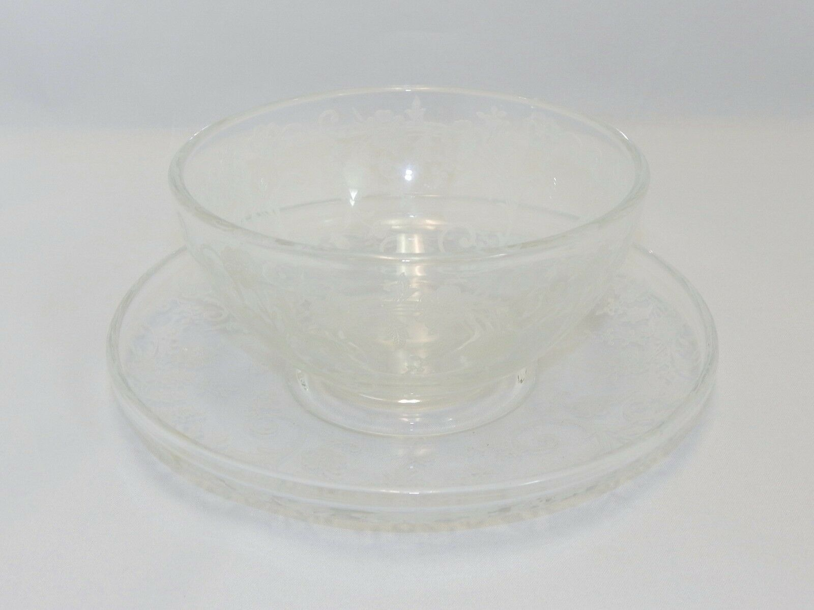 Primary image for Fostoria Glass Etched Buttercup Mayonnaise and Under Plate