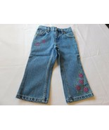 Canyon River Blues CRB Baby Girls Pants Denim Jeans Blue Flowers 2T Todd... - $29.69