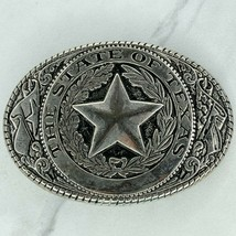Silver Tone The State of Texas Star Flags Belt Buckle - $19.34