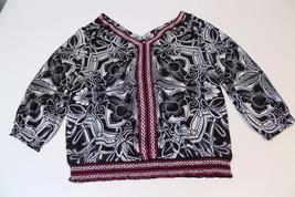 W12672 Womens White House Black Market Pink Print Blouse Flowy Shirt Top SMall/6 - $15.45