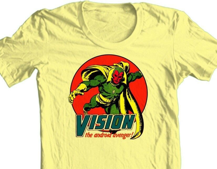 Vision T-shirt Avengers vintage comic book superhero 100% cotton graphic tee