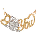 "10K or 14K Two Tone Gold & CZ Studded Heart ""I Love You"" Necklace - $299.99+"