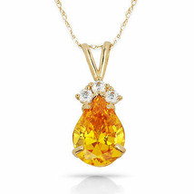 3.70 CT Citrine Pear Shape 4 Stone Gemstone Pendant & Necklace 14K Y Gold - $153.45