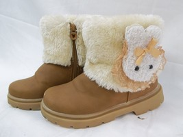 Toddler Boots Faux Leather Fleece Lined Brown Girls Child Bunny Trim Winter - $250,32 MXN