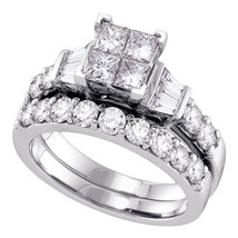 14k White Gold Princess Diamond Bridal Wedding Engagement Ring Band Set 1.00 Ctw - £1,470.78 GBP