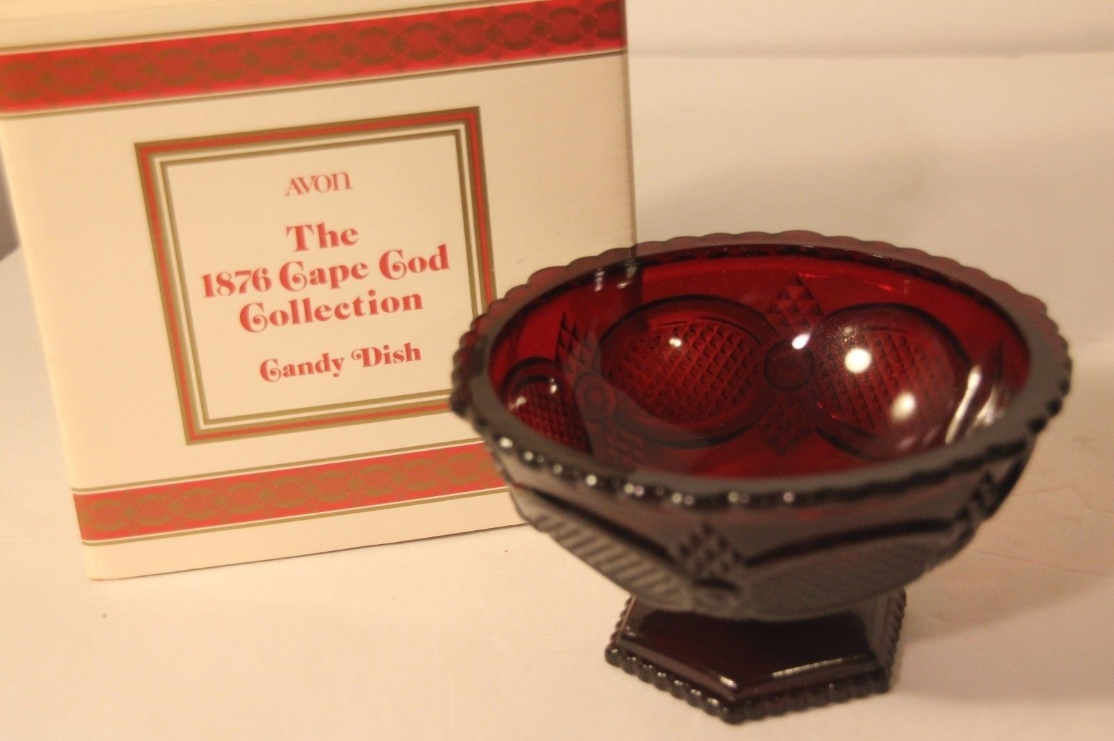 Avon Ruby Red 1876 Cape Cod Candy Dish + Original Box Vintage