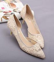Women Nude Beige Lace Wedding/bridal low heel Sandals Shoes US Size 5.5,... - $39.99