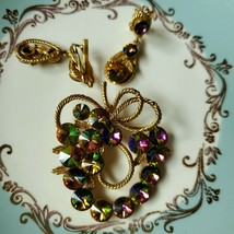 Vintage Vitrial Rivoli Grape Cluster Brooch Set - $34.65