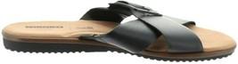 Clarks Leather Cross Band Buckle Slides Kele Heather Black 8.5W NEW A306397 - $74.23