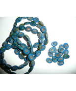 Six Strands  of Awesome Dark Blue Czech Glass Carved Oval Beads 14x10mm - $37.99
