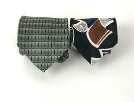 Daniel Craig Zylos George Machado Neck Tie lot of 2 100% Silk Mod geometric - $19.79