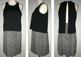 DKNY Donna Karan Women's Chevron Open Back Shift Dress with Overlay, Bla... - $29.99