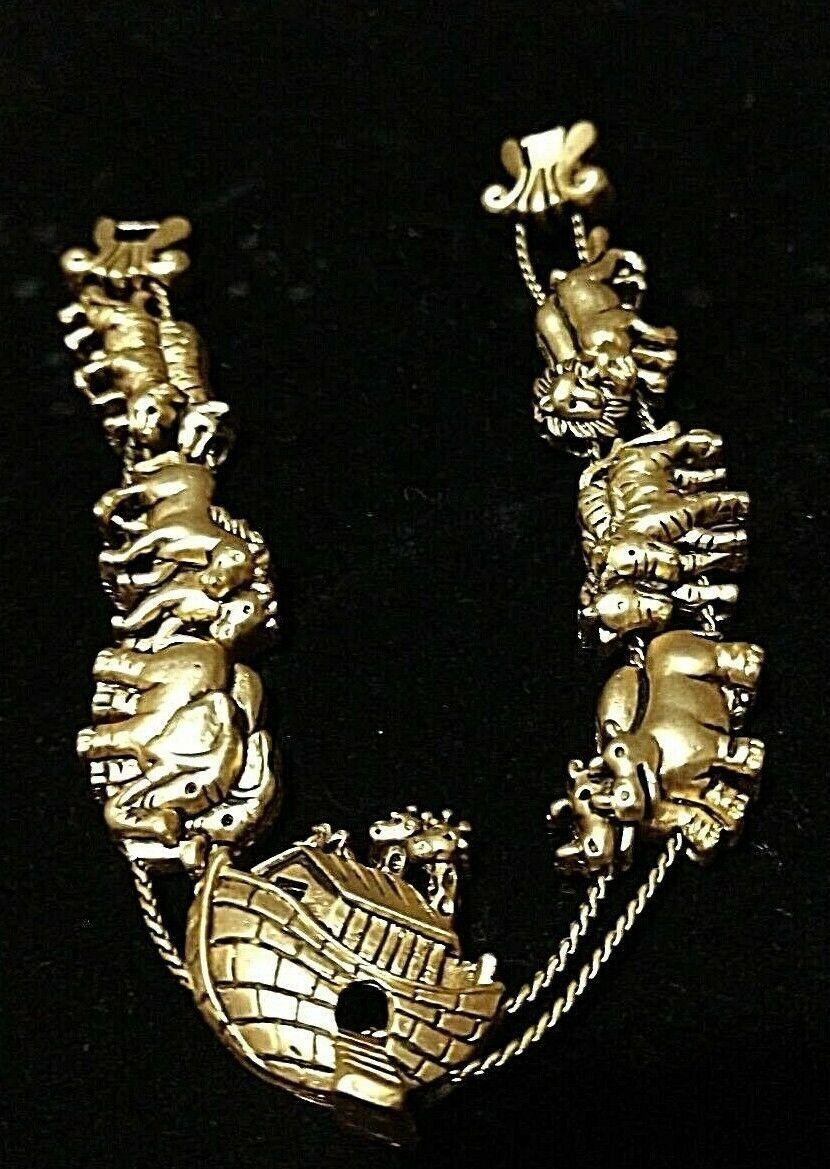 VINTAGE NOAH'S ARK SLIDE  BRACELET 1980'S GOLD