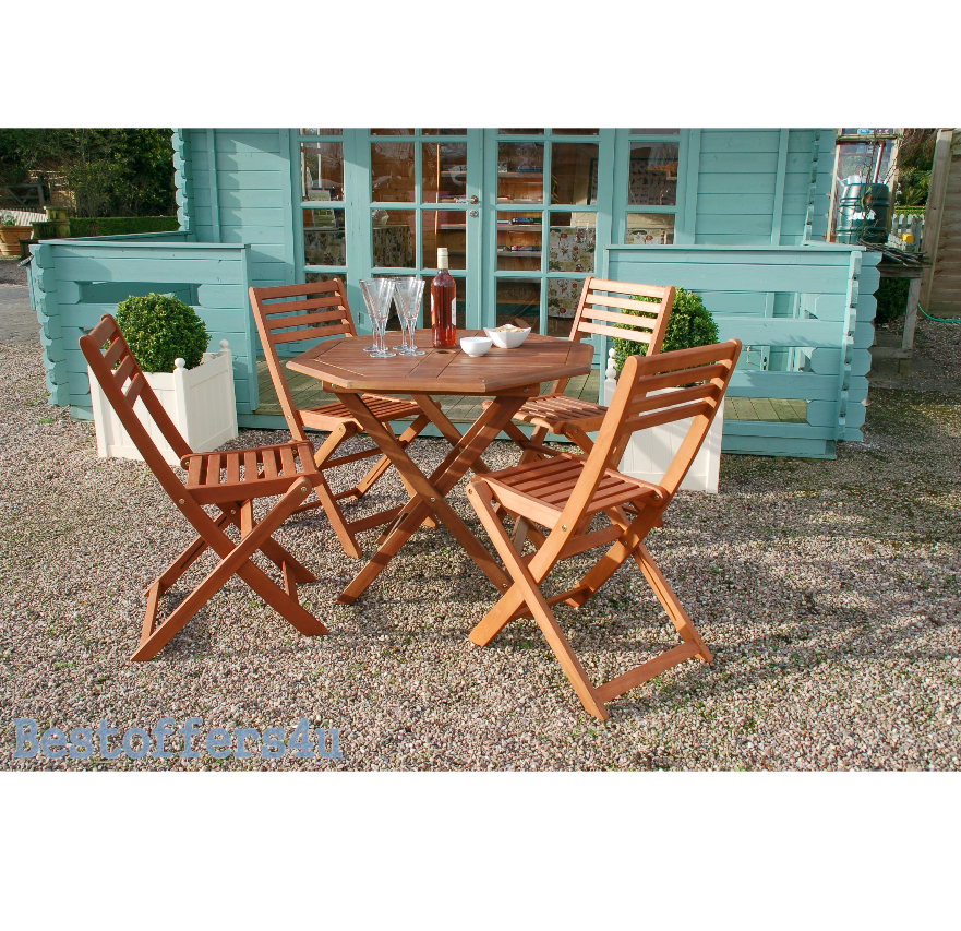 Wooden Garden Dining Set Table & 4 Chairs Folding Patio Conservatory Furniture image 8