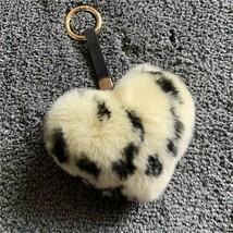 Leopardenmuster Echt Pelz Rex Hase Haar Pfirsich Herz Ball Keychain Anhä... - $14.25