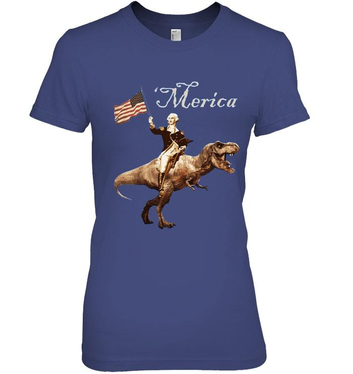 George Washington Riding a Tyrannosaurus Rex Merica T ...