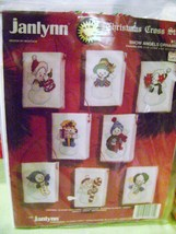 "1992 Janlynn ""Snowman Angels"" Cross Stitch Christmas Ornaments (8) Kit NIP - $14.00"
