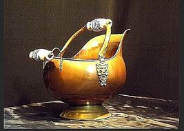 Cauldron Kettle with Glass Handle w/Blue Flowers Vintage Brass AA18-1032 image 4