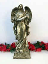 O Holy Night Christmas Angel Statue Burnished Silvertone 14 In. Tabletop... - $25.99