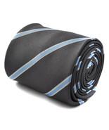 Frederick Thomas men's grey and light blue club striped tie FT1777 - $16.42