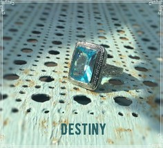 Rectangular Faceted Aquamarine & White Topaz 925 Silver Ring - $24.99