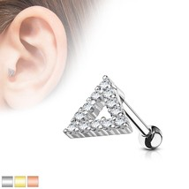 16G CZ Paved Triangle Top 316L Surgical Steel Cartilage, Tragus Barbell ... - $4.19
