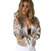 Glossy Satin Zipper Front Women Short Bomber Jackets - $34.08