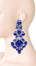 "4.5"" L  Royal Blue AB Rhinestone Oversized Clip On Earrings Drag Queen P... - $28.21"