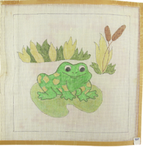 Vintage 1970's Hand Painted Needlepoint Canvas Leaping Lily Funny Frog 1... - $28.35