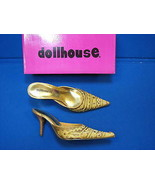 NEW 7 Dollhouse Ladies Womens Shoes Ling Gold High Heels Mules Slides Be... - $26.99