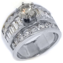 3.6 CARAT WOMENS DIAMOND ENGAGEMENT WEDDING RING ROUND BAGUETTE CUT WHIT... - £4,834.43 GBP