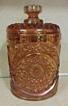 HOBSTAR-MARIGOLD CARNIVAL GLASS COOKIE JAR & LID IMPERIAL GLASS MARKED RARE - $100.00