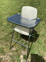 Vintage Mid Century Modern COSCO White Chrome Metal High Chair 50s 60s - $125.00