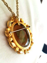Vintage D&E Juliana Cameo Brooch Pin Pendant Necklace, Rhinestone Brooch Pendant image 12